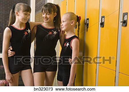Girls Gymnastics Teammates In Locker Room Stock Image Bn323073