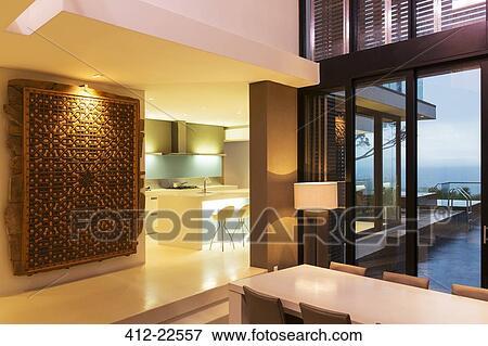 Immagine - vista, di, moderno, sala da pranzo, e, cucina, con ...