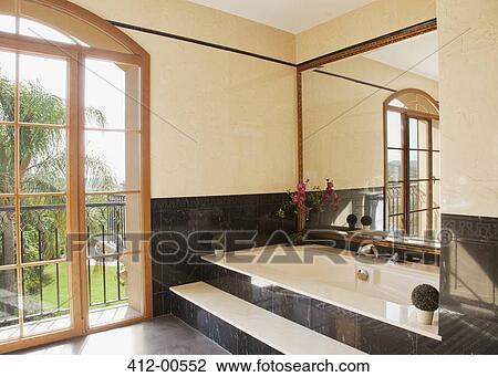 Mármol, bañera, en, lujo, cuarto de baño Colección de imágen | 412 ...