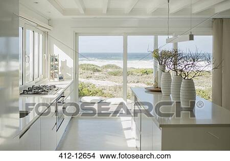 interior for homes stock photo of modern white kitchen with view 412 12654