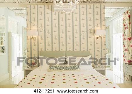 Lusso, camera letto, con, carta da parati Archivio Immagini