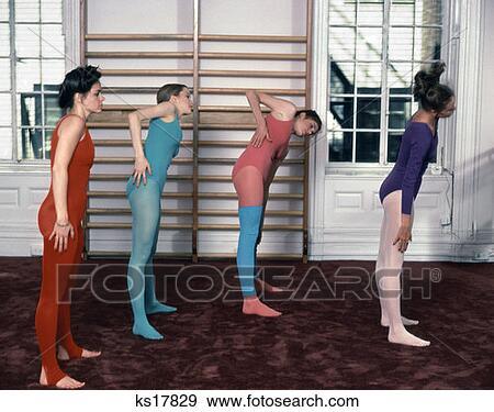 1970 1970S 4 Women Group Pastel Leotards Tights Leg Warmers Warming Up Gym  Ballet Bar Studio Exercise Warmup Aerobics 69f8c355d2c