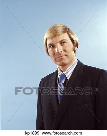Stock Fotograf 1970 1970s Blond Blondes Haar Blaue Augen Mann