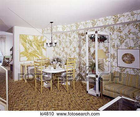 stock photography of 1970 1970s living dining room dinette. Black Bedroom Furniture Sets. Home Design Ideas