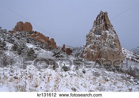 Garden Of The Gods Sandstone Tower Fresh Snow Morning