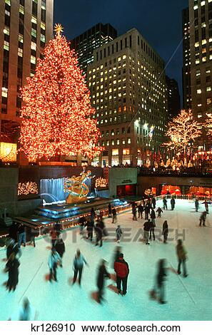 New York During Christmas Time.New York New York People Ice Skating In Rockefeller Center At Christmas Time Stock Image