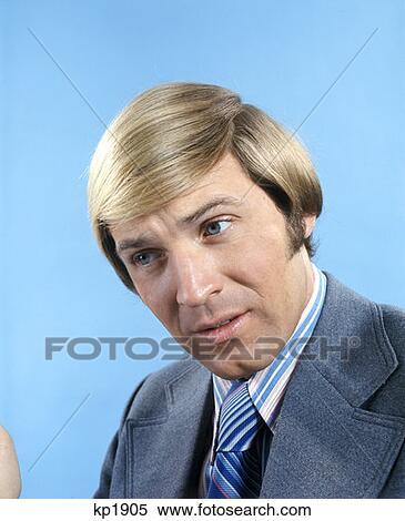 Stock Bild Porträt Von Mann Blondes Haar Blaue Augen Früher