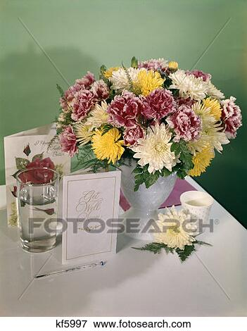 Retro Get Well Soon Sick Flowers Bouquet Greeting Cards Stock Photo