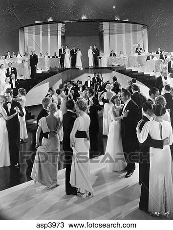 1930s Couples Dancing Onmovie Set Of Swing Time Which Starred Fred Astaire Ginger Rogers Bandleader George Metaxa Stock Image Asp3973 Fotosearch