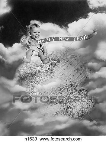 1930s montage baby sitting on top earth globe in clouds holding happy new year banner