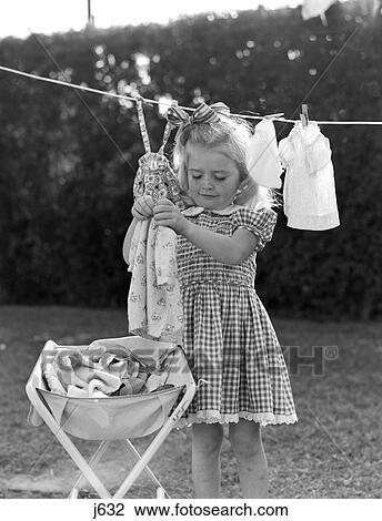 Stock Foto 1940 1940s 1950 1950s Mädchen Gingham Kleidung