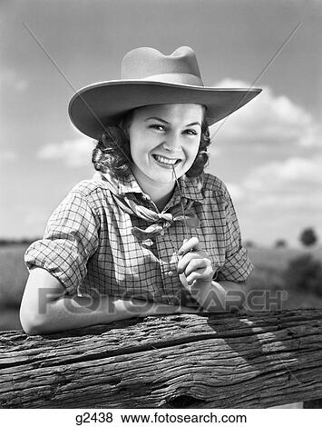 c13fc8304da 1940S Girl In Ten Gallon Western Cowboy Hat   Plaid Shirt Smiling While  Holding A Blade Of Grass Between Her Teeth
