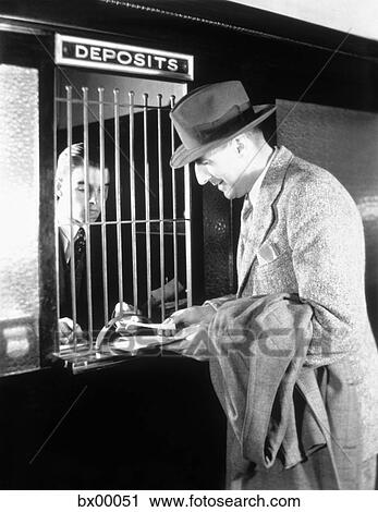 Stock Photography Of 1940s Man At Tellers Window Of Bank
