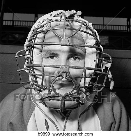 Stock Photograph Of 1950s Portrait Baseball Player Wearing Catchers