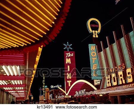 1960s night scene downtown las vegas nevada