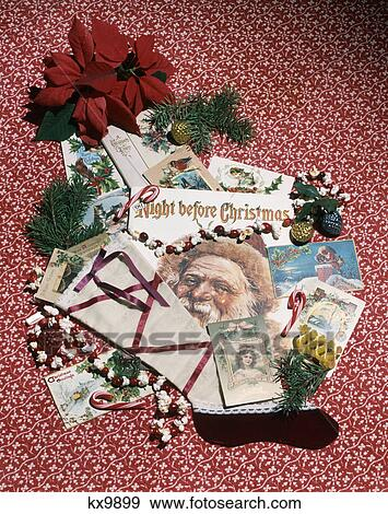 1980s vintage christmas decorations cards poinsettia stocking still life - 1980s Christmas Decorations
