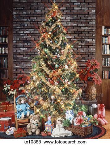 Christmas Tree With Decorations Garland Lights Toys And Presents