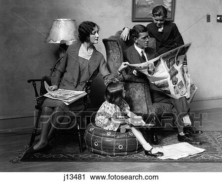 Stock Photography Of 1920s Family Of Four Mother Father