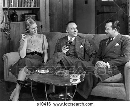Stupendous 1930S 1940S Two Men And One Woman Social Group Sitting On Gmtry Best Dining Table And Chair Ideas Images Gmtryco