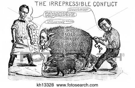 Pictures Of 1800s 1850s 1858 Cartoon Irrepressible Conflict Between