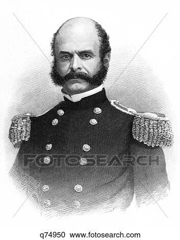 1800s, 1860s, صورة, ambrose, burnside, سائد, جيش الاتحاد, الحرب ...