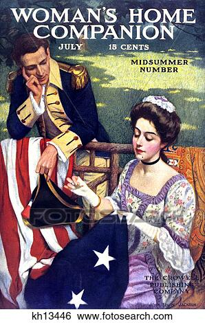 Betsy Ross Sewing First American Flag July 1909 Woman S Home Companion Magazine Cover Stock Photograph Kh13446 Fotosearch