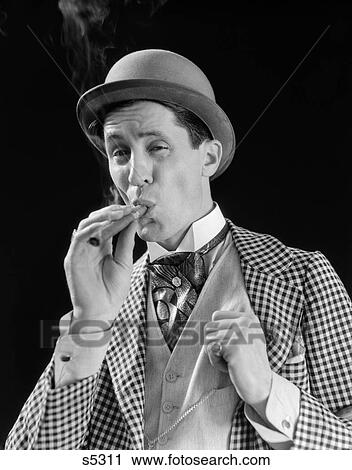 4203a858455 1910S 1920S Character Man Inhaling Cigar Con Man Bowler Hat Fancy Suit  Cravat
