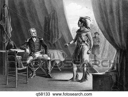 1814 General Andrew Jackson & Red Eagle Weatherford After Indian Defeat  Battle Of Horseshoe Bend Alabama Creek Indian Wars Stock Image