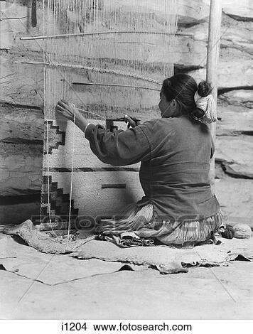 Native American Navajo Woman Seated At