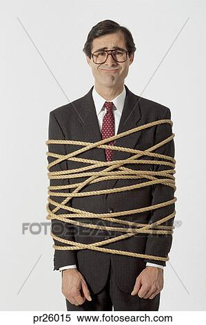 stock image of businessman tied up with rope pr26015 search stock