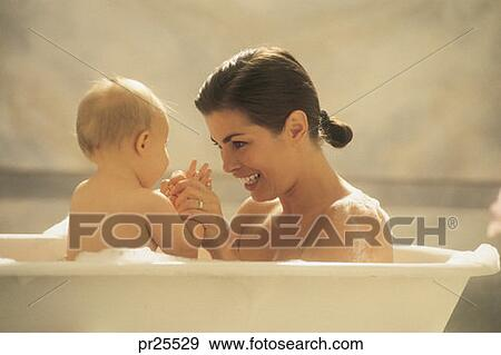 Stock Photograph of Mother and baby in the bathtub pr25529 - Search ...