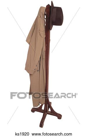Garderobenständer clipart  Stock Fotografie - antiker, garderobe flur, mit, mantel, und, hut ...