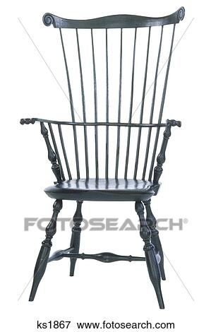Old Fashioned Wooden Colonial Spindle Back Chair Stock Photo