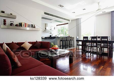 Sala da pranzo, soggiorno, e, cucina, interno Archivio Fotografico ...