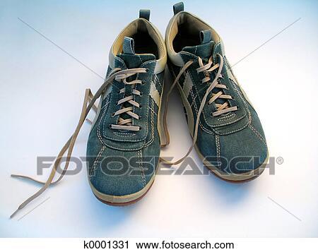 7637fcf2d12 Ένα, ζευγάρι, από, sneakers., εστία, επάνω, αμφότεροι, sneakers., κορδόνια  παπουτσιών, untied.
