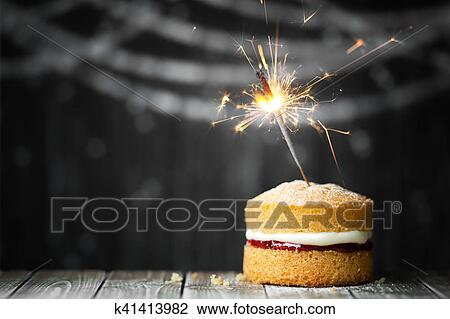 Stock Photo Of Birthday Cake With Sparkler K41413982