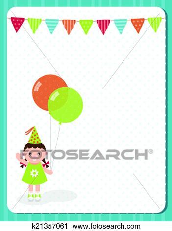 Clipart Of Birthday Invitation Card K21357061 Search Clip
