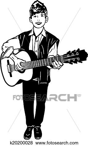 Clip Art Of Boy Playing A Guitar K20200028