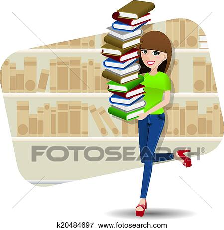 Dessin Anime Intelligent Girl Porter Tas De Livre Dans Bibliotheque Clipart