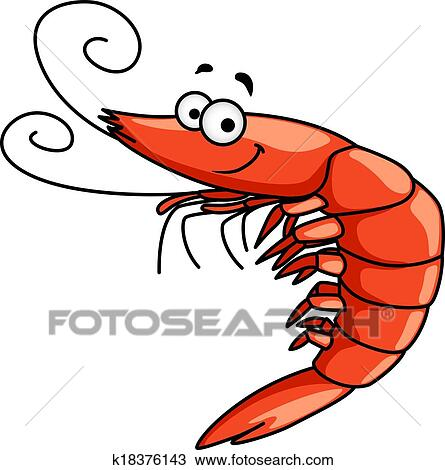 clipart of happy prawn or shrimp with curly feelers k18376143 rh fotosearch com shrimp clip art border shrimp clipart transparent