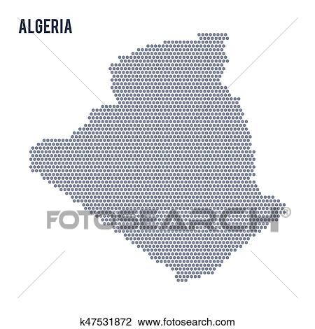 Vector hexagon map of Algeria on a white background Clipart
