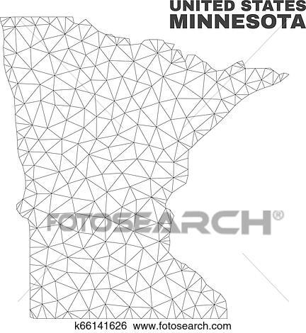 Vector Polygonal Mesh Minnesota State Map Clip Art   k66141626 ...