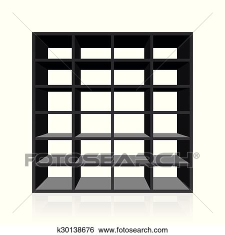 Black Empty Rack Or Bookshelf With Twenty Four Cubbyholes Isolated Vector Illustration On White Background