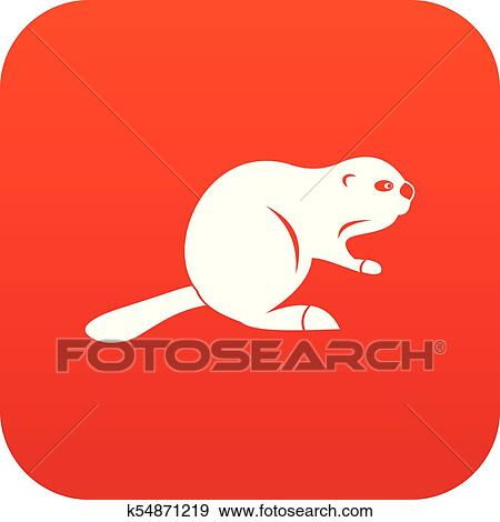 Clip Art Of Canadian Beaver Icon Digital Red K54871219 Search