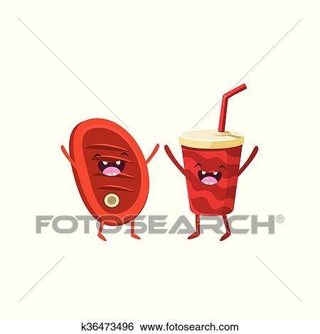 Clip Art Fleisch Und Soda Karikatur Freunde K36473496 Suche
