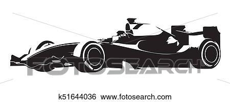 clip art of formula racing car abstract vector silhouette k51644036
