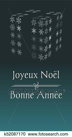 Cartoline Buon Natale E Felice Anno Nuovo.Francese Buon Natale E Felice Anno Nuovo Cartolina Auguri Clipart K52087170 Fotosearch
