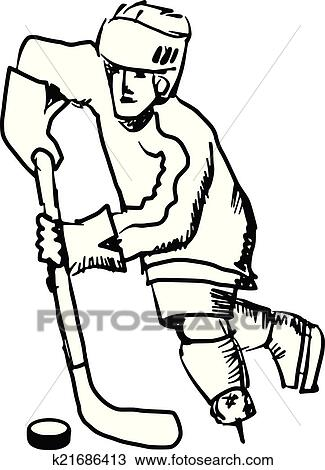 Clipart Of Hockey Player K21686413
