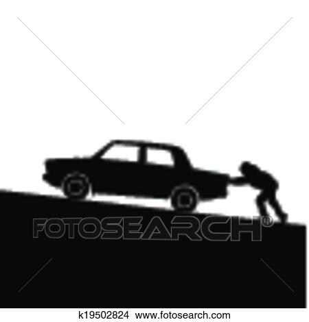 clipart of silhouette of man pushing a car k19502824 search clip