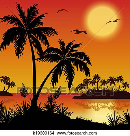 Drawings of tropical islands palms flowers and birds k19309164 tropical landscape sea islands with palm trees flowers sun and birds gulls black silhouettes on red yellow background mightylinksfo